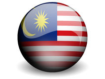 Round Flag of Malaysia. With Glossy Effect Royalty Free Stock Photography