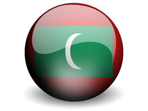 Round Flag of Maldives. With Glossy Effect Royalty Free Stock Photography