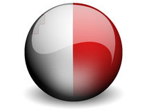 Round Flag of Malta. With Glossy Effect Royalty Free Stock Photography