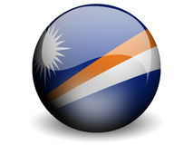 Round Flag of Marshall Islands. With Glossy Effect Stock Image