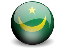 Round Flag of Mauritania. With Glossy Effect Stock Image