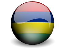 Round Flag of Mauritius. With Glossy Effect Royalty Free Stock Image