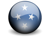 Round Flag of Micronesia. With Glossy Effect Stock Photos