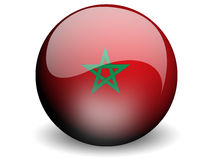 Round Flag of Morocco. With Glossy Effect Royalty Free Stock Photography