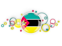 Round flag of mozambique with circles pattern Stock Photo