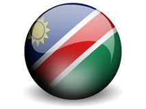 Round Flag of Namibia. With Glossy Effect Stock Photography