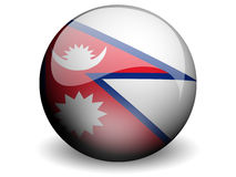 Round Flag of Nepal. With Glossy Effect Stock Photography