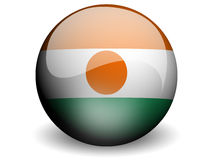 Round Flag of Niger. With Glossy Effect Royalty Free Stock Photography