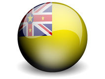 Round Flag of Niue. With Glossy Effect Stock Images