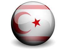 Round Flag of Northern Cyprus. With Glossy Effect Royalty Free Stock Photography