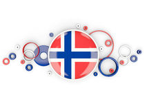 Round flag of norway with circles pattern. Isolated on white. 3D illustration Stock Image
