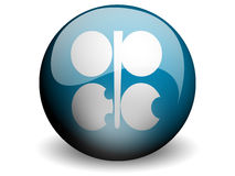 Round Flag of OPEC. With Glossy Effect Stock Photo
