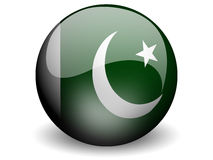 Round Flag of Pakistan. With Glossy Effect Stock Images