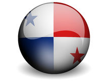 Round Flag of Panama. With Glossy Effect Stock Image
