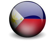 Round Flag of Philippines. With Glossy Effect stock illustration