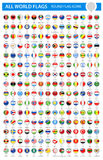 Round Flag Pins - All World Vector Stock Images