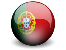 Round Flag of Portugal. With Glossy Effect Royalty Free Stock Photo