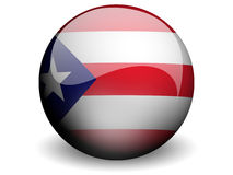 Round Flag of Puerto Rico. With Glossy Effect Royalty Free Stock Photos