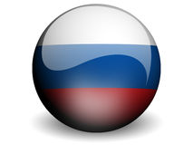 Round Flag of Russian Federation. With Glossy Effect Royalty Free Stock Photos