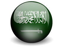 Round Flag of Saudi Arabia. With Glossy Effect