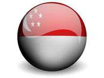 Round Flag of Singapore. With Glossy Effect Stock Image