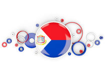 Round flag of sint maarten with circles pattern Royalty Free Stock Photography