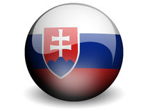Round Flag of Slovakia. With Glossy Effect Stock Photo