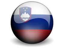 Round Flag of Slovenia. With Glossy Effect Royalty Free Stock Photos