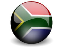 Round Flag of South Africa. With Glossy Effect Stock Photo