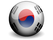 Round Flag of South Korea. With Glossy Effect Stock Photos