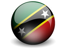 Round Flag of St. Kitts & Nevis. Round Flag of St. Kitts & Nevis With Glossy Effect Royalty Free Stock Image
