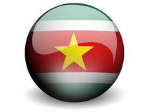 Round Flag of Suriname. With Glossy Effect Stock Photo