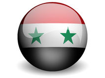 Round Flag of Syria. With Glossy Effect Royalty Free Stock Photos