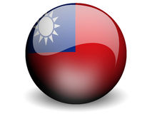 Round Flag of Taiwan. With Glossy Effect Royalty Free Stock Photography