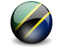 Round Flag of Tanzania. With Glossy Effect Stock Photo