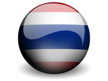 Round Flag of Thailand. With Glossy Effect Stock Images