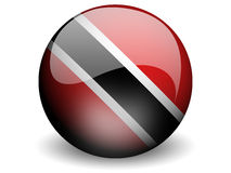 Round Flag of Trinidad and Tobago. With Glossy Effect Royalty Free Stock Photos