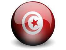 Round Flag of Tunisia. With Glossy Effect Stock Photos