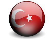 Round Flag of Turkey. With Glossy Effect Stock Images