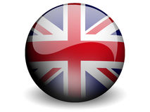 Round Flag of United Kingdom. With Glossy Effect Stock Photos
