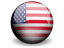 Round Flag of United States. With Glossy Effect Royalty Free Stock Image