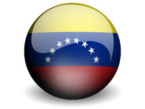 Round Flag of Venezuela. With Glossy Effect Royalty Free Stock Photography