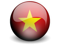 Round Flag of Viet Nam. With Glossy Effect Stock Image