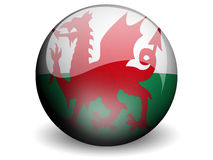 Round Flag of Wales. With Glossy Effect Royalty Free Stock Image