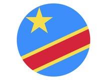 Round flaga Demokratyczna republika Kongo ilustracji