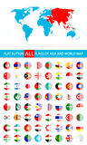 Round Flat Button Flags Of Asia Complete Set and World Map Stock Photos