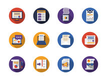 Round flat color web articles icons set. Writing web articles buttons. Advertising, copywriting, newsletter and message app., blogging. Collestion of round flat Royalty Free Stock Photography