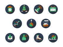 Round flat color winter holidays icons set. Set of round blue flat color style icons for Christmas time. Winter entertainment and party, New Year celebrations Stock Photography