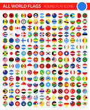 Round Flat Flag Icons on Black Background - All World Vector. Illustration Royalty Free Stock Image