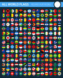 Round Flat Flag Icons on Black Background - All World Vector. Illustration Stock Photo